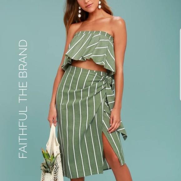 c73778ce07a Faithfull the Brand Tops | Faithful The Brand Solana Green Stripe ...
